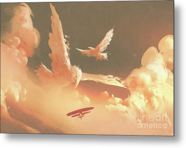 Metal Print featuring the painting Fantasy Sky by Tithi Luadthong