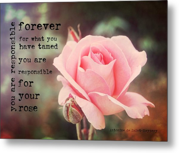Fantin-latour Roses Quote Metal Print by JAMART Photography
