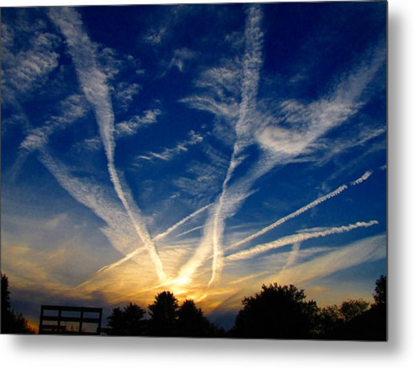 Farm Evening Skies Metal Print