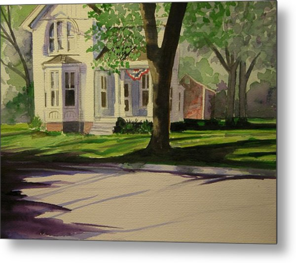 Farm House In The City Metal Print by Walt Maes