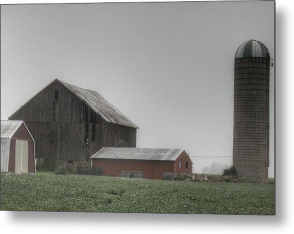 0011 - Farm In The Fog II Metal Print