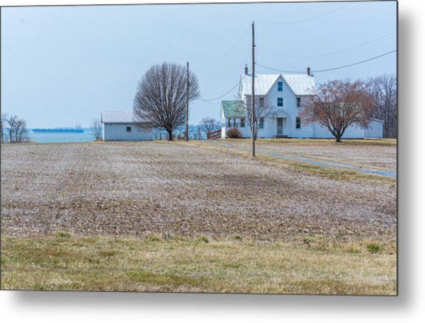 Farm On The Bay Metal Print