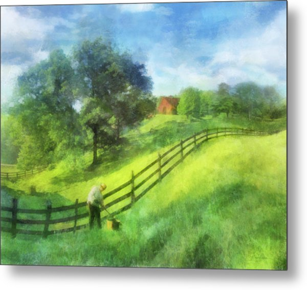 Farm On The Hill Metal Print