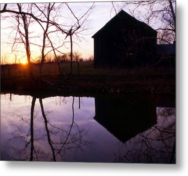 Farm Pond At Sunset Metal Print by George Ferrell