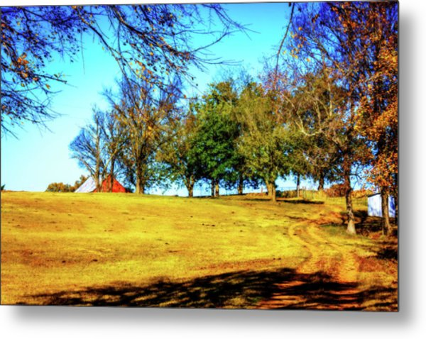 Farm Road - Fall Landscape Metal Print