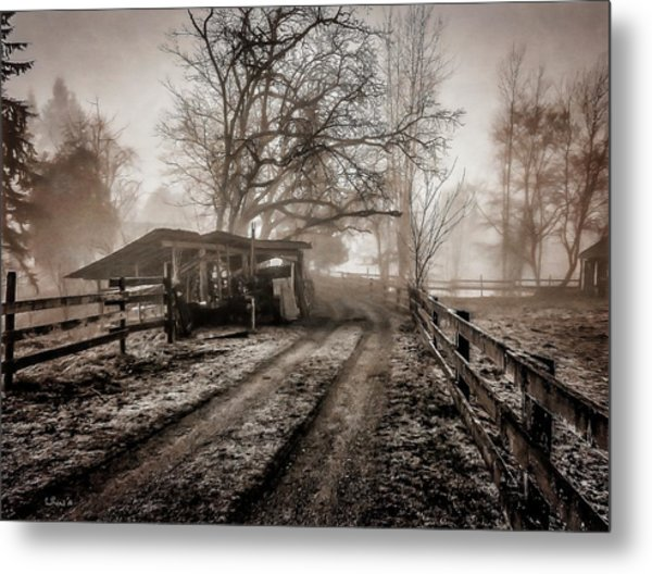 Farm Road Late Autumnl. Metal Print
