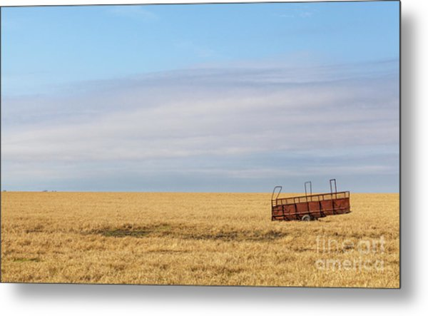 Farm Trailer In The Middle Of Field Metal Print