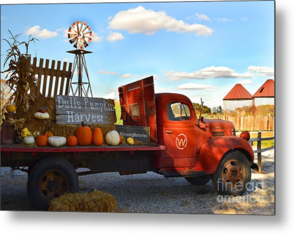 Farm With Red Truck In Fall  Metal Print
