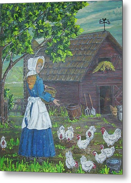 Farm Work I Metal Print by Phyllis Mae Richardson Fisher