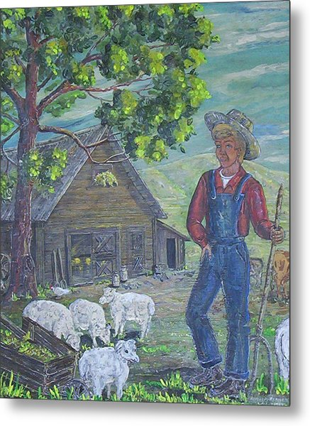 Farm Work II Metal Print by Phyllis Mae Richardson Fisher