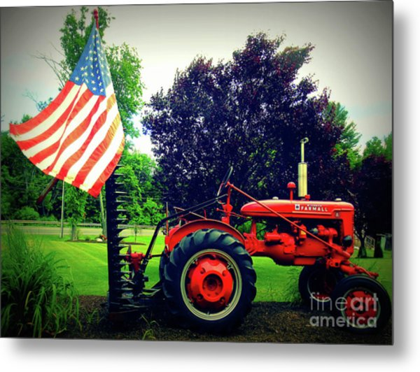 Farmall And Flag Metal Print
