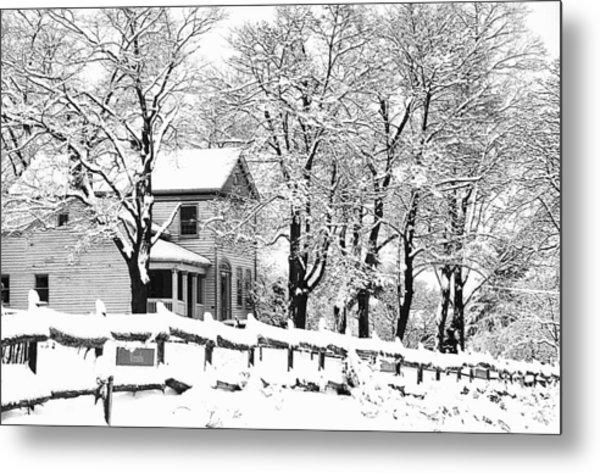 Farmhouse In Winter Metal Print