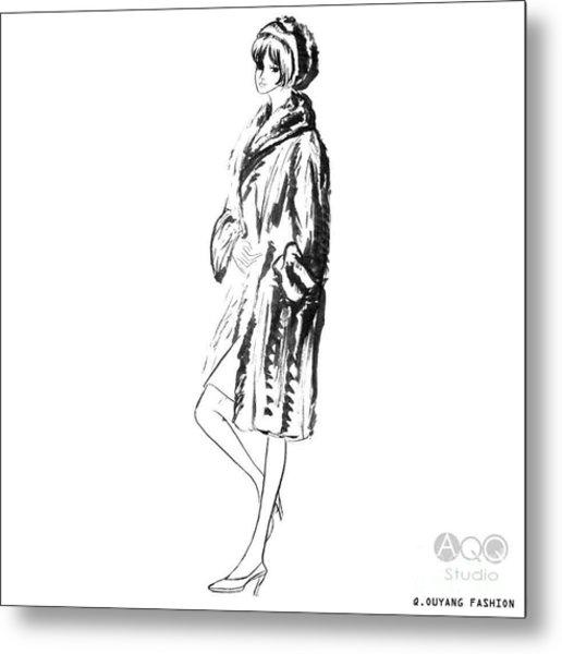 Fashion Girl In Fur Coat Metal Print