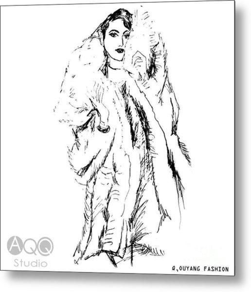 Fashion Lady In Fur Coat Metal Print
