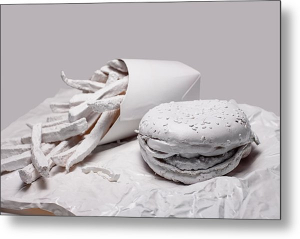 Fast Food - Burger And Fries Metal Print