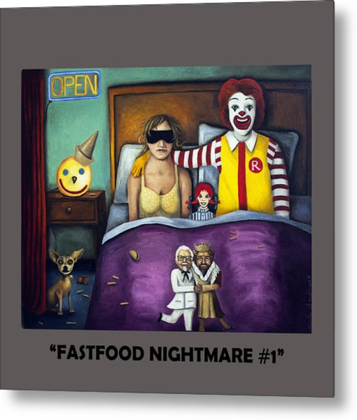 Fast Food Nightmare With Lettering Metal Print
