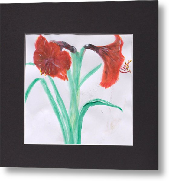 Fast Paint Red Flowers Metal Print by Jonathan Galente