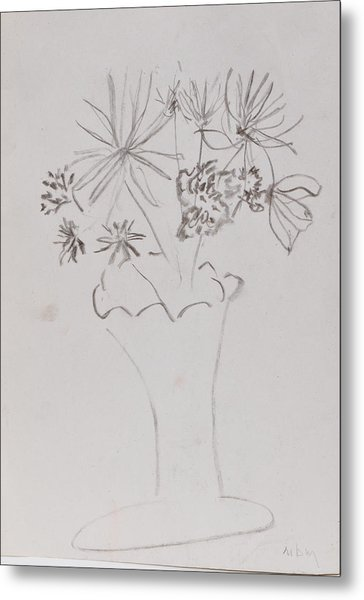 Fast Vase With Flowers Metal Print by MaryBeth Minton