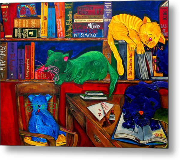 Fat Cats In The Library Metal Print by Patti Schermerhorn