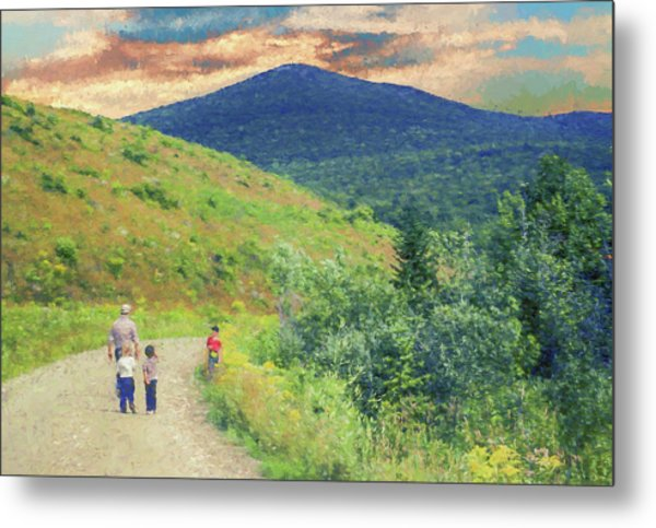 Father And Children Walking Together Metal Print
