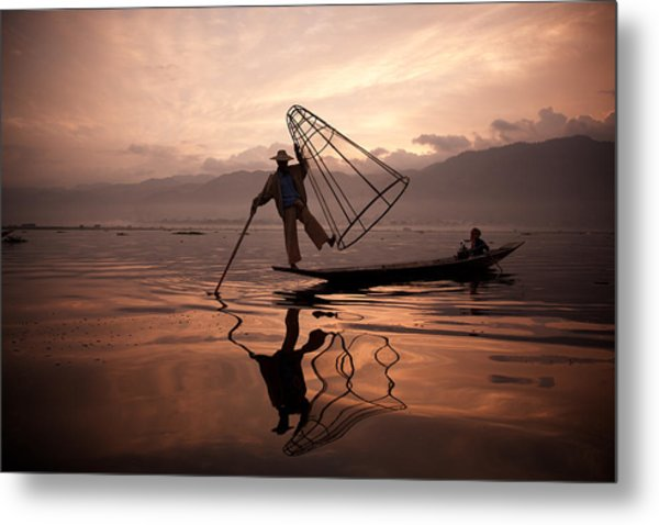 Father And Son Fishing Dance. Metal Print