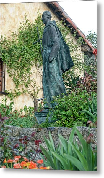 Father Junipero Serra Statue At Mission Carmel Metal Print