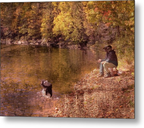 Father,son And Dog Metal Print