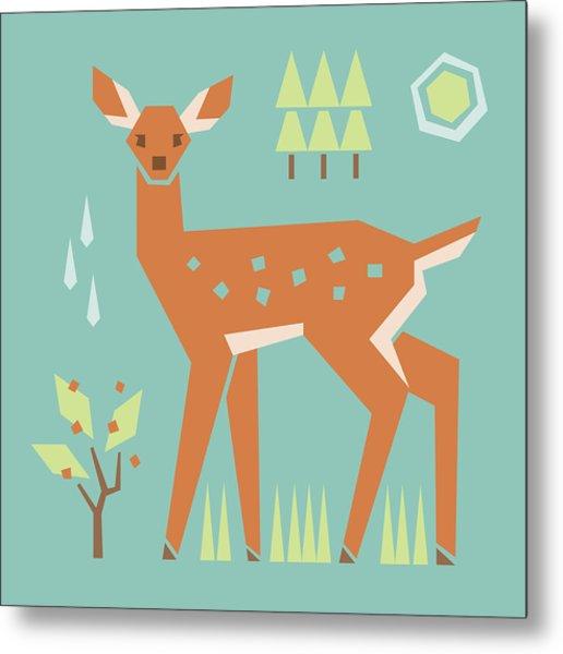 Fawn In The Meadow Metal Print
