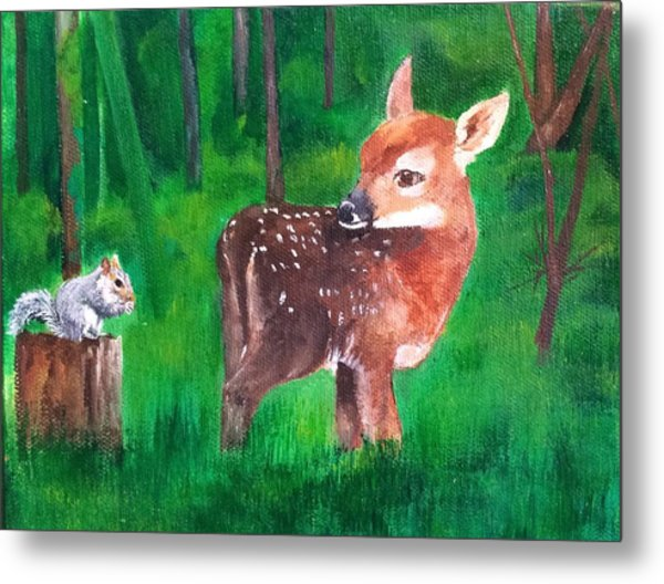Fawn With Squirrel Metal Print