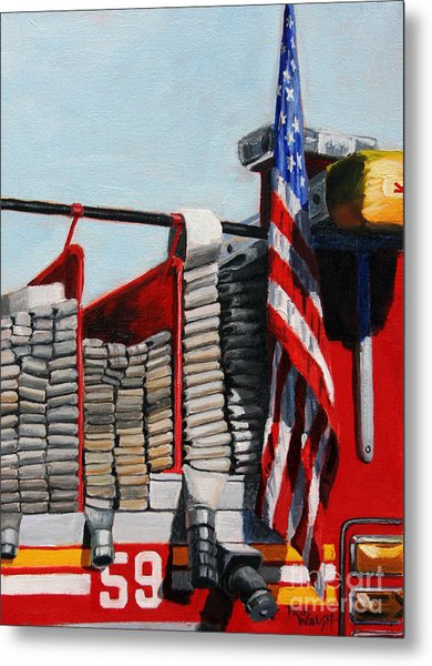 Fdny Engine 59 American Flag Metal Print