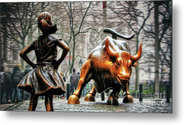 Fearless Girl And Wall Street Bull Statues Metal Print