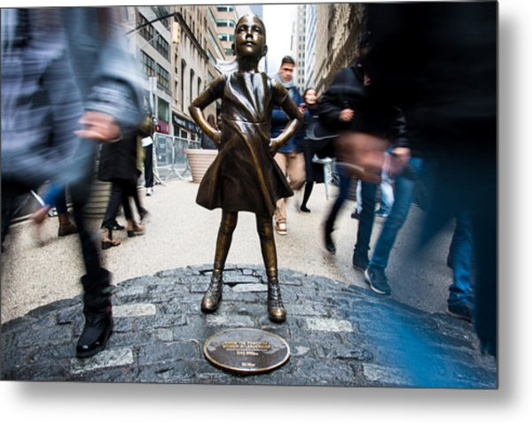 Metal Print featuring the photograph Fearless Girl by Stephen Holst