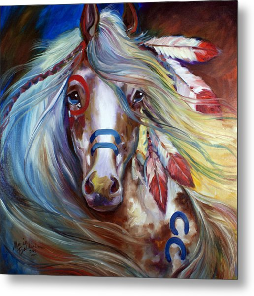 Fearless Indian War Horse Metal Print