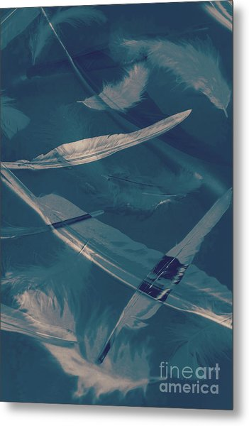 Feathers Floating In The Air Metal Print