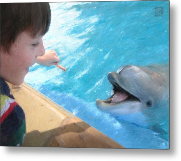 Feeding A Friend Metal Print