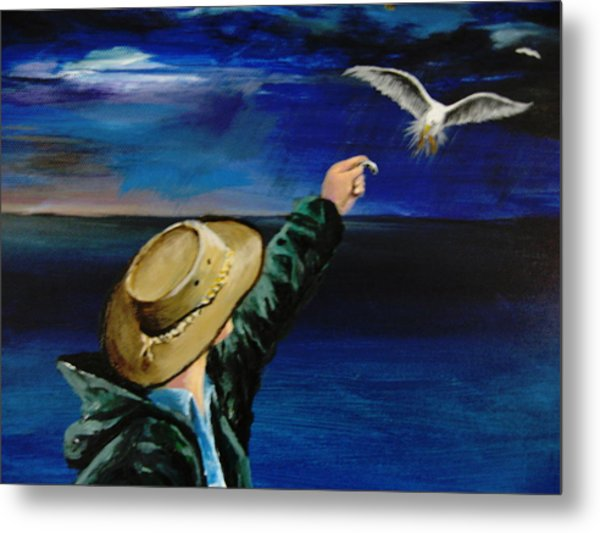 Feeding My Gull Friend Metal Print by Larry Whitler