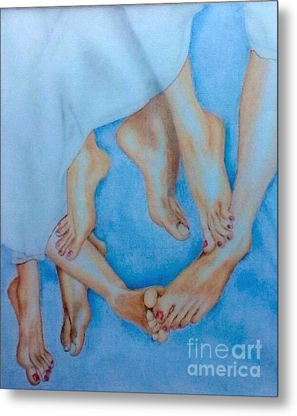 Naughty Feet Metal Print