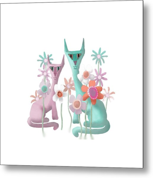 Felines In Flowers Metal Print