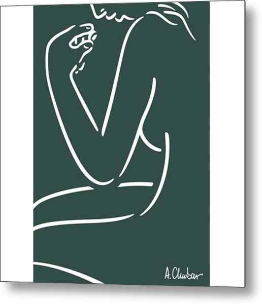 Female Nude Looking At A Metal Print by Alexander Chubar