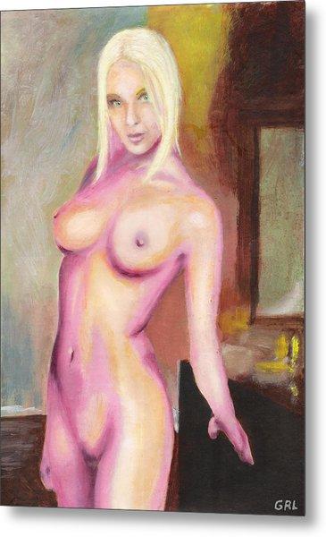 Female Nude Taxha Standing Original Multimedia Acrylic Oil Painting Metal Print by G Linsenmayer