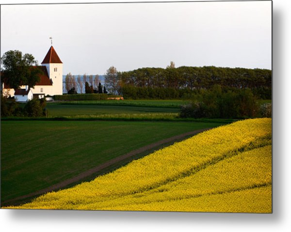 Femoe Fields And Church Metal Print