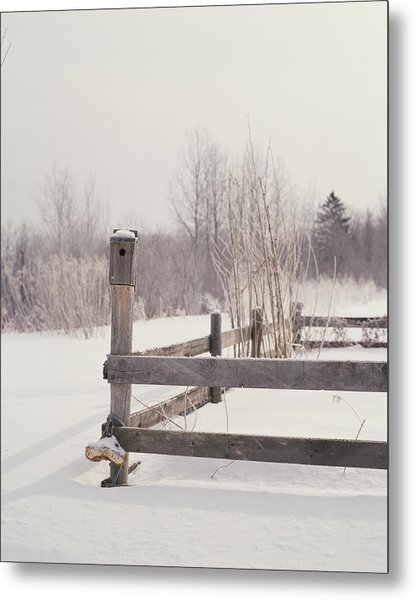 Fence And Birdhouse In The Snow Metal Print by Gillham Studios