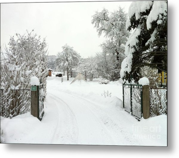Fence And  Gate In Winter Metal Print