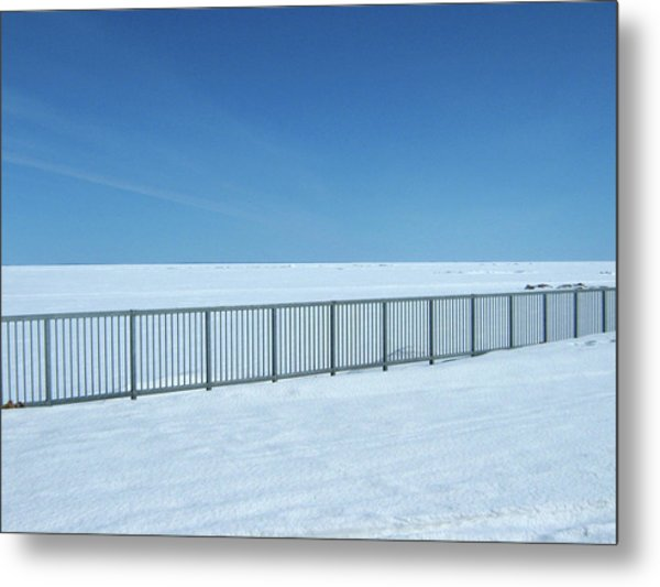 Fence In Snow Metal Print