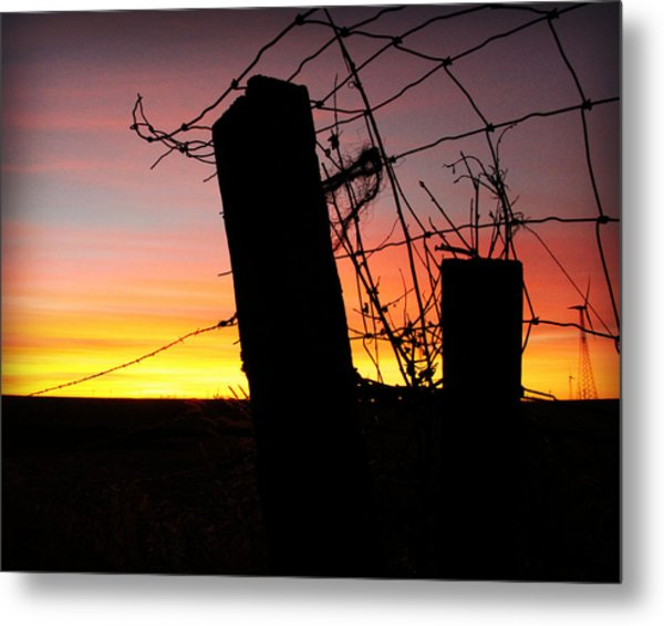 Fence Sunrise Metal Print