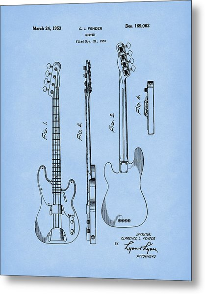 Metal Print featuring the drawing Fender Bass Guitar 1953 Patent Art Blue2 by Prior Art Design