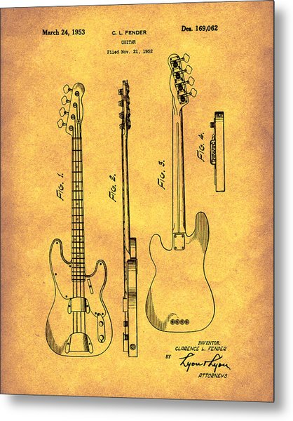 Metal Print featuring the drawing Fender Bass Guitar 1953 Patent Art Gold by Prior Art Design