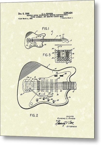 Fender Guitar 1966 Patent Art Metal Print