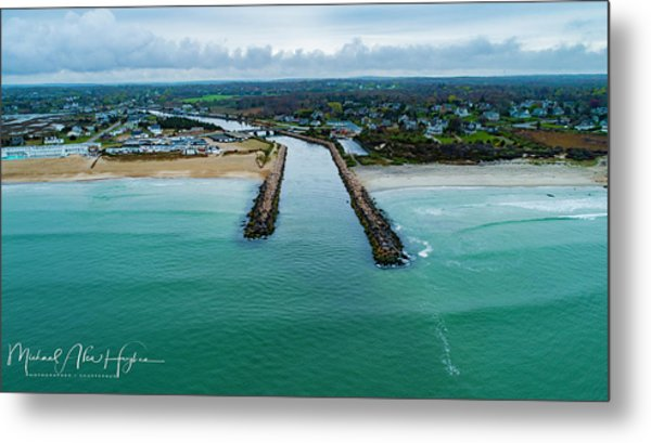 Fenway Beach Breakwater Metal Print