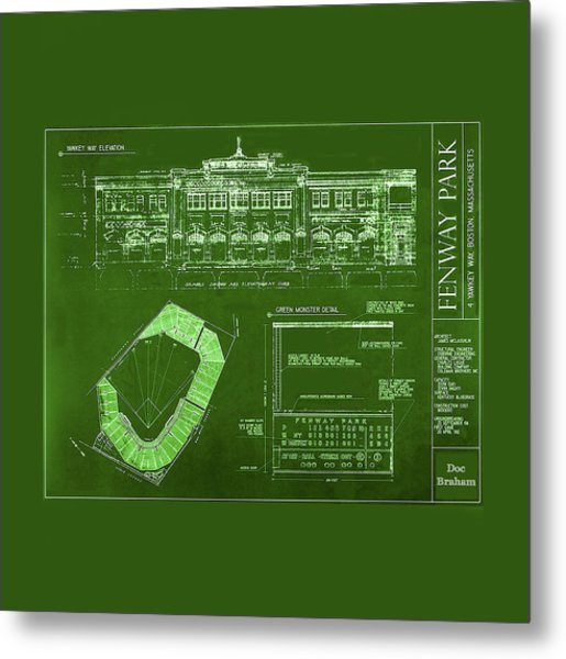 Fenway Park Blueprints Home Of Baseball Team Boston Red Sox Metal Print